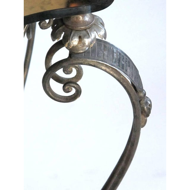 René Drouet Elegant and Stylish French, 1940s Iron and Tole Side Table by Rene Drouet For Sale - Image 4 of 7