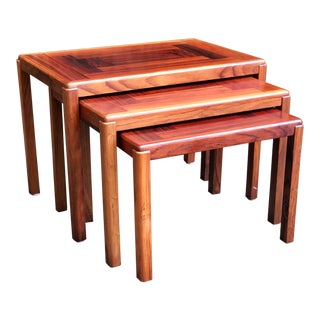1950s Danish Modern Rosewood Vejle Stole Mobelfabrik Nesting Tables - Set of 3 For Sale