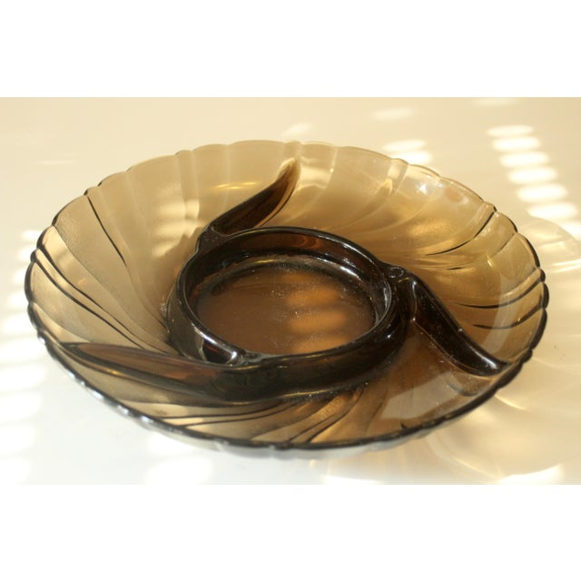 Mid-Century Modern Vintage Smoked Glass Trinket Bowl For Sale - Image 3 of 5