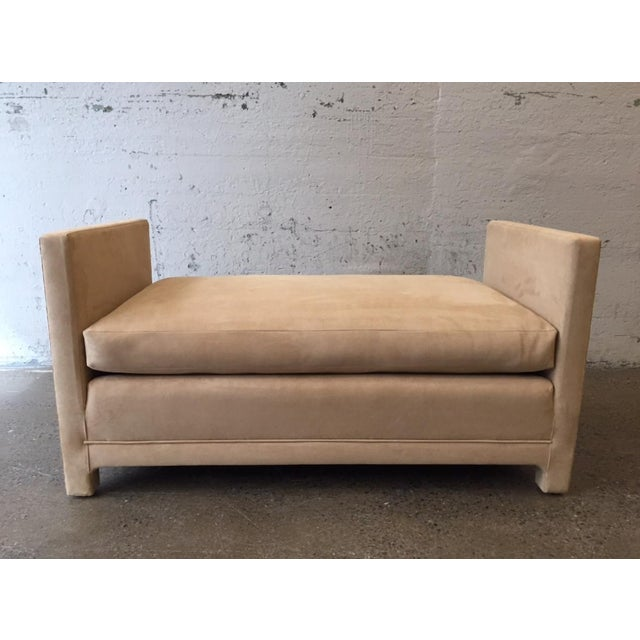 Flavor Custom Originals Oversized Bench style of Milo Baughman. The bench is upholstered in an ultrasuede fabric and has a...