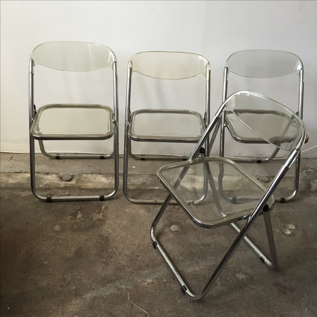 Italian Lucite & Chrome Folding Chairs - Set of 4 - Image 2 of 7
