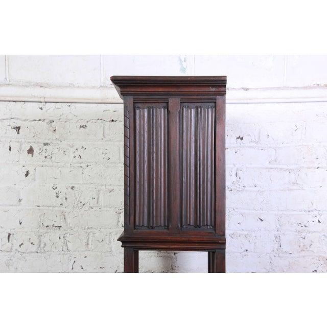 Brown 19th Century Belgian Dark Walnut Gothic Bar Cabinet For Sale - Image 8 of 10