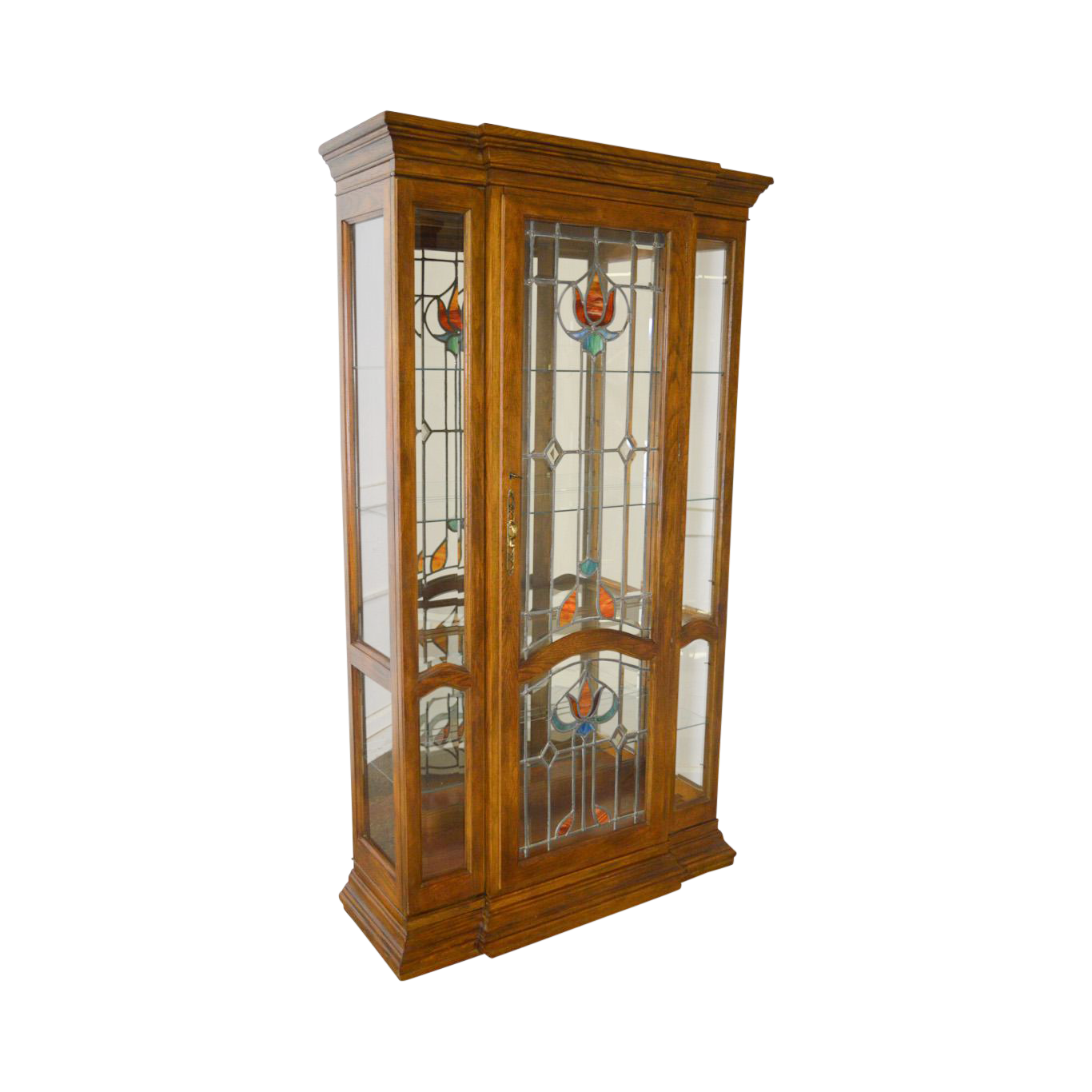 Ordinaire Oak Leaded Stained Glass Curio Display Cabinet