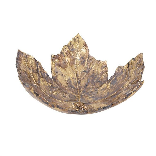 2020s Large Gold Maple Leaf Tray For Sale - Image 5 of 5