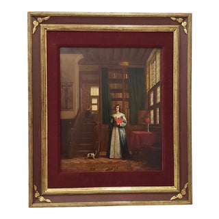 "European School ""Woman in the Library"" Original Oil Painting Circa 19th Century For Sale"