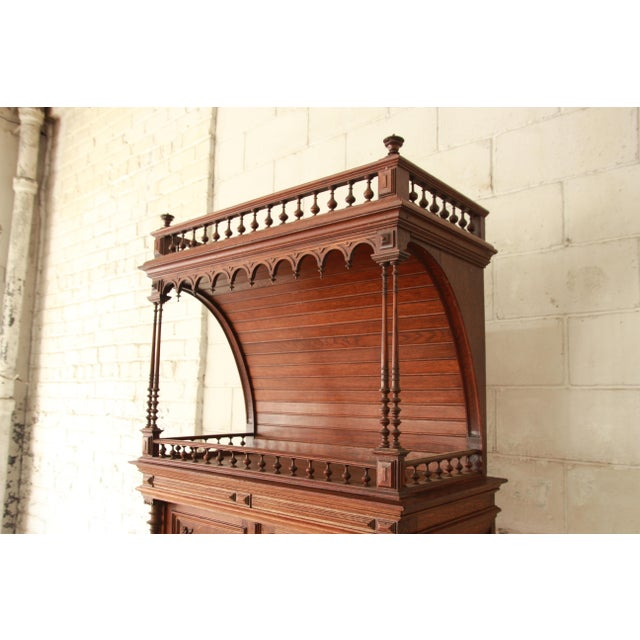 Antique Carved Oak Tall French Bar Cabinet For Sale In South Bend - Image 6 of 13