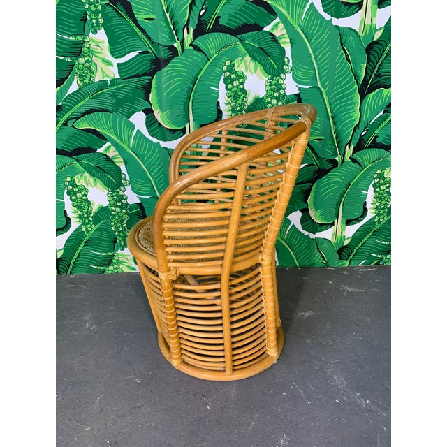 Horizontal Rattan Albini Style Barrel Dining Chairs - Set of 4 For Sale - Image 4 of 7