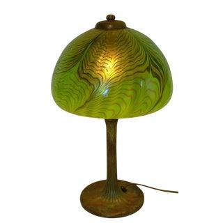 Green Lundberg Studios Art Glass and Bronze Lamp For Sale