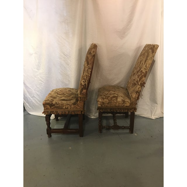 Antique Louis XVIII Period Side Chairs With 19th Century Upholstery - a Pair For Sale - Image 4 of 8