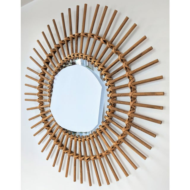 Early 21st Century Boho Chic Rattan and Wooden Starburst Mirror For Sale - Image 5 of 9