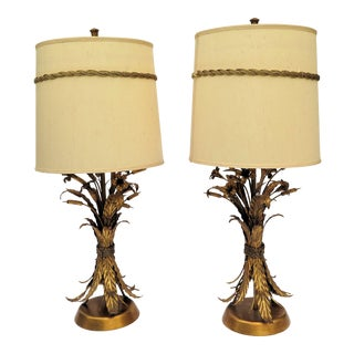 Italian Style Marlboro Gold Leaf Lamps - A Pair For Sale