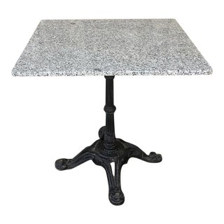 19th Century Cast Iron Granite Top Cafe Table For Sale