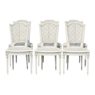 Louis XVI Style Caned & Painted Dining Chairs - Set of 6