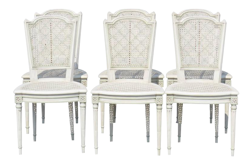Louis XVI Style Caned U0026 Painted Dining Chairs   Set ...