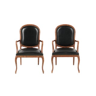 Vintage Mid Century Hand-Carved Italian Carved Wood Leather Bound Armchairs- A Pair For Sale