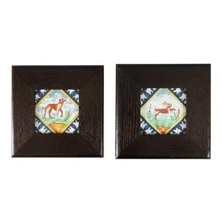Vintage Dutch Delft Framed Polychrome Animal Tiles - Set of 2 For Sale