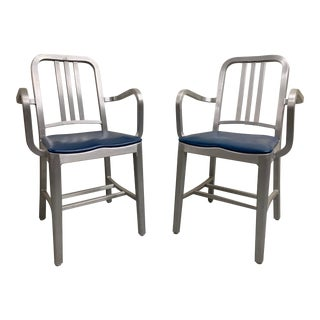 Emeco Navy Arm Chair - a Pair For Sale
