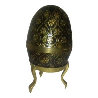 Vintage Solid Brass Egg With Stand For Sale
