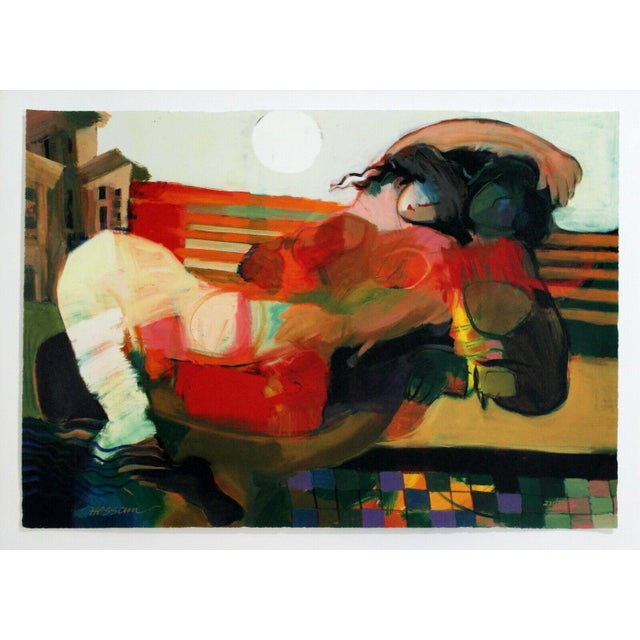 For your consideration is a romantic, framed serigraph, depicting colorful couple, signed Hessam Abrishami, numbered...