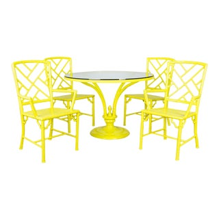 1960's Yellow Powder Coated Meadowcraft Faux Bamboo Patio Set For Sale