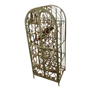 Vintage 1930s Large Solid Wrought Iron Wine Rack With Iron Doors For Sale