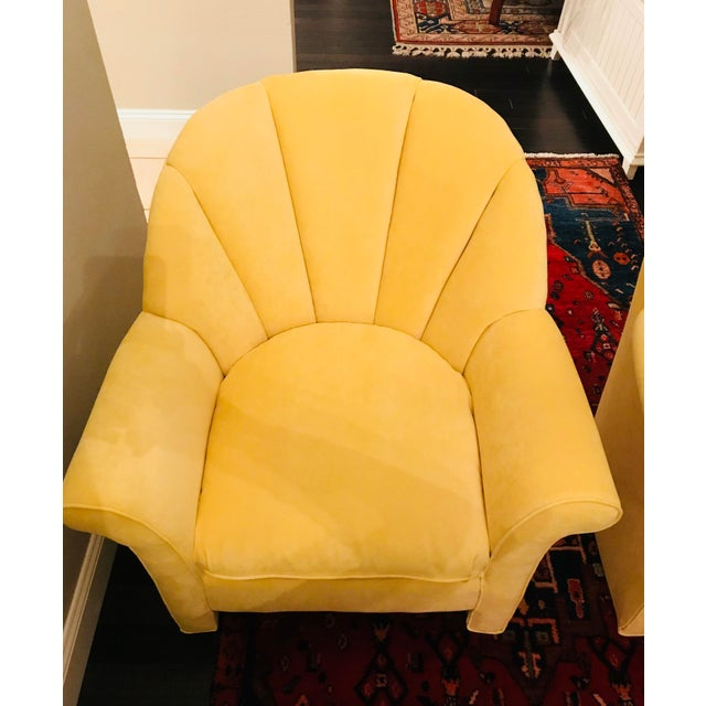 1980s 1980s American Classical Bright Yellow Velvet Vanguard Channel Back Chairs - a Pair For Sale - Image 5 of 12