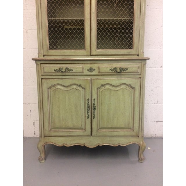 1960s French Provincial Stepback Cupboard With Wire Mesh For Sale - Image 4 of 8