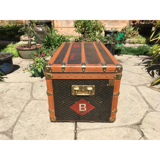 1930s 1930s Traditional Goyard Steamer Trunk For Sale - Image 5 of 13