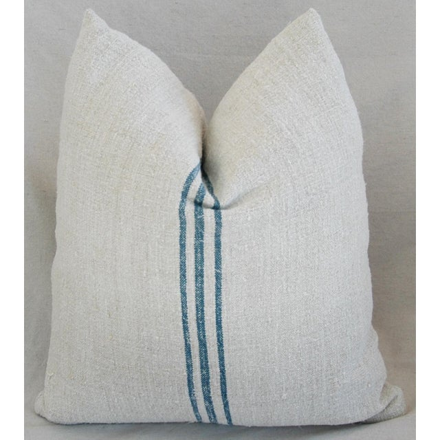 Blue Stripe French Grain Sack Pillows - Pair - Image 4 of 11