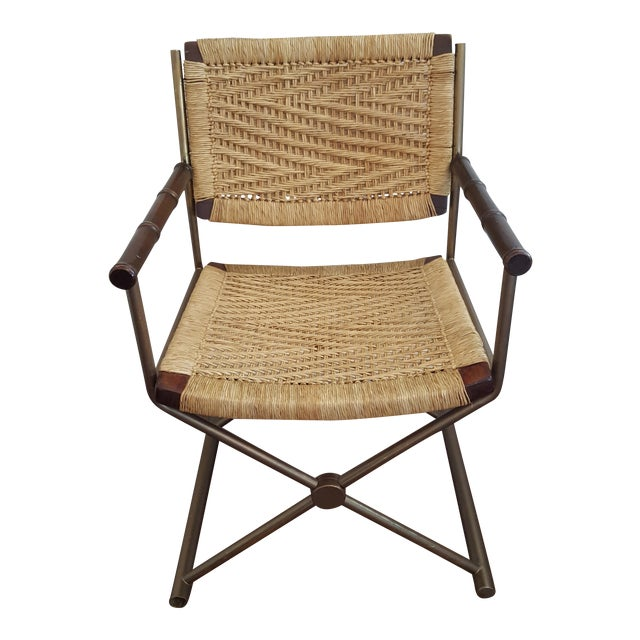 Hollywood Regency Brass Rattan X-Form Director's Chair - Image 1 of 5