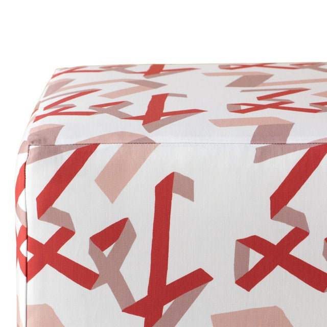 Contemporary Cube Ottoman in Pink & Red Ribbon by Angela Chrusciaki Blehm for Chairish For Sale - Image 3 of 6