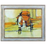 Image of Mid-Century Modern Abstract Oil Painting Signed Ferrari For Sale