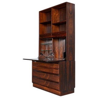 Danish Rosewood Bookcase Hutch with Secretary Desk