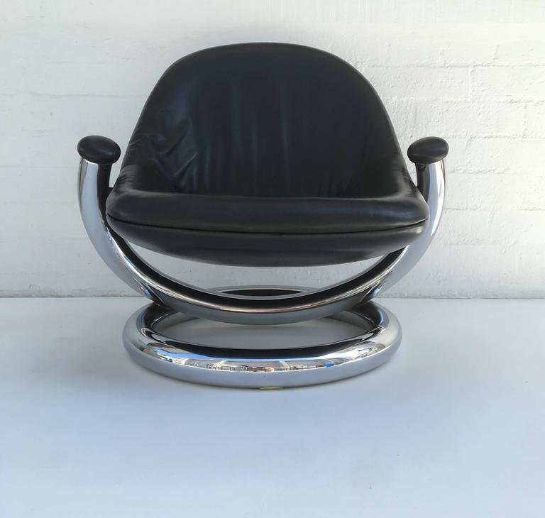Mid Century Modern Chrome And Black Leather Anaconda Lounge Chair By Paul  Tuttle For Sale