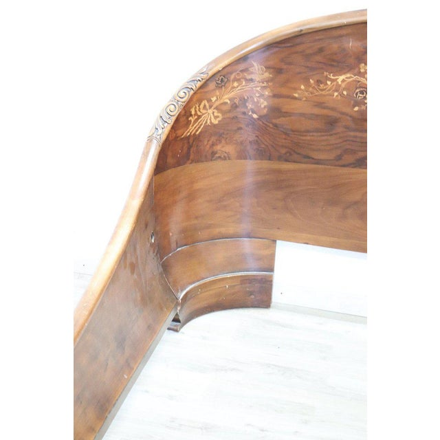 Brown 20th Century Italian Design Art Deco Inlaid Wood Double Bed For Sale - Image 8 of 12