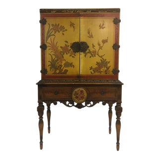 1920's Chinoiserie Yellow Cabinet Armoire For Sale