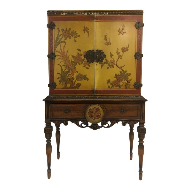 1920's Chinoiserie Yellow Cabinet Armoire Bar Cabinet For Sale