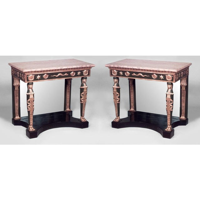 Neoclassical Pair of Russian Neoclassic Style Parcel Gilt Console Tables For Sale - Image 3 of 3