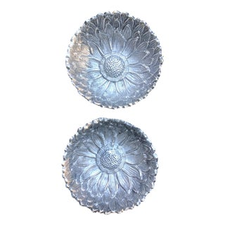 Antique RH Macy Silver Pewter Daisy Motif Serving Bowl - A Pair For Sale
