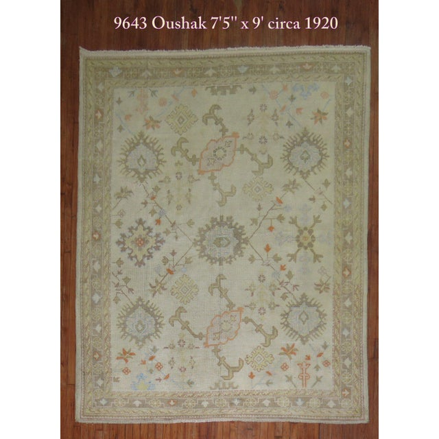 Square Antique Ivory Field Oushak Rug, 7'5'' X 9' For Sale - Image 9 of 9