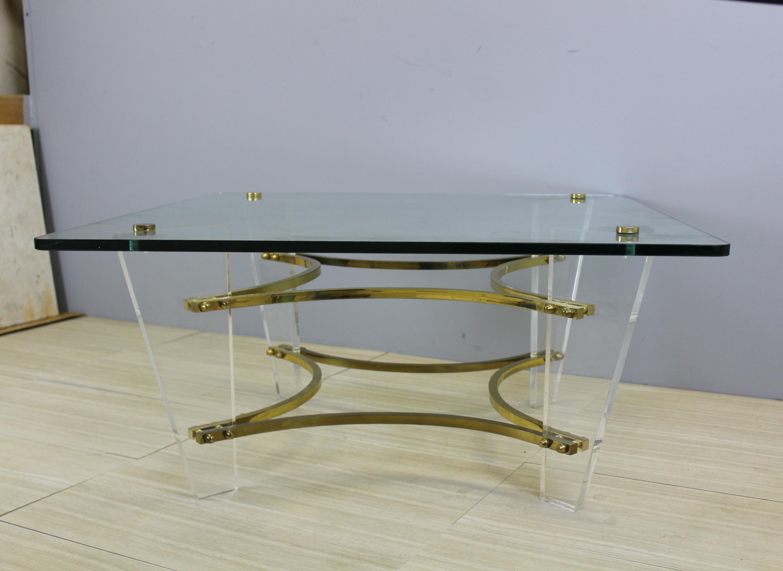 Mid Century Modern Vintage Charles Hollis Jones Lucite Coffee Table For  Sale   Image 3