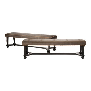Black and White Long Benches with Classic Suede Trim - A Pair For Sale