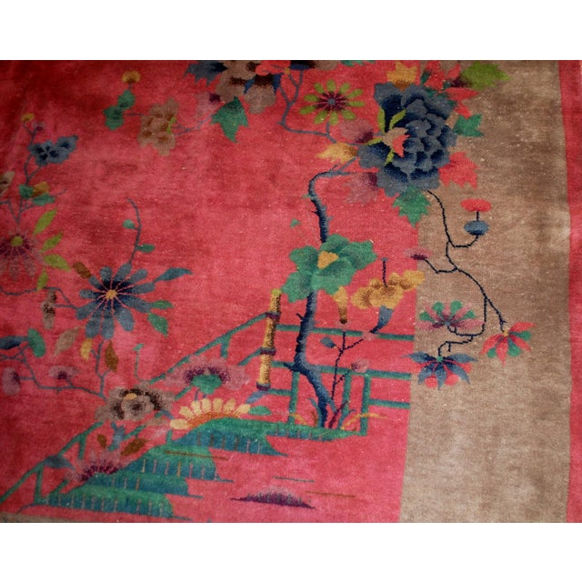 1920s Antique Art Deco Chinese Rug - 8′10″ × 11′8″ For Sale - Image 4 of 10
