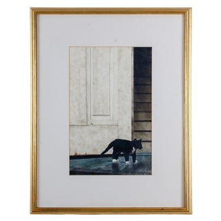 Late 20th Century Robert Highsmith Cat Watercolor Painting For Sale