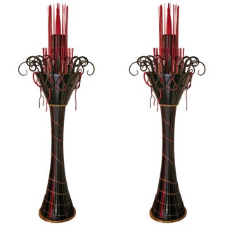 1980s Italian Modern Black and Red Murano Glass Fountain Floor Lamps - a Pair For Sale