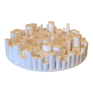 Modern Round Wooden White Table Sculpture by Yamil O. Cardenas For Sale