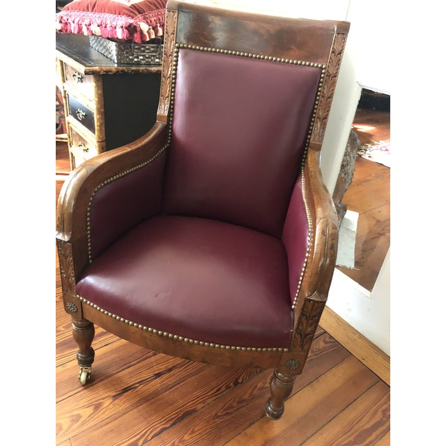 Metal 19th Century Empire Mahogany Library Chair on Brass Casters For Sale - Image 7 of 11