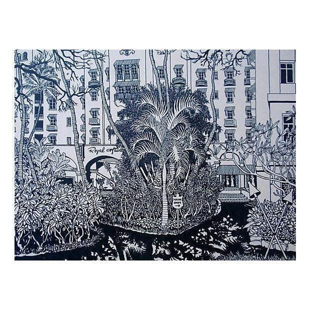 Royal Hawaiian Hotel Woodblock Print Trace Purcell For Sale - Image 4 of 4