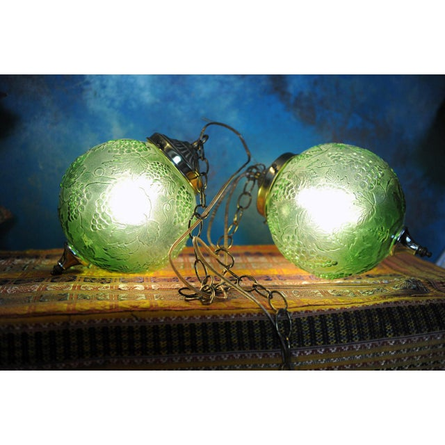 Vintage Green Glass Globe Pendants - Image 2 of 3