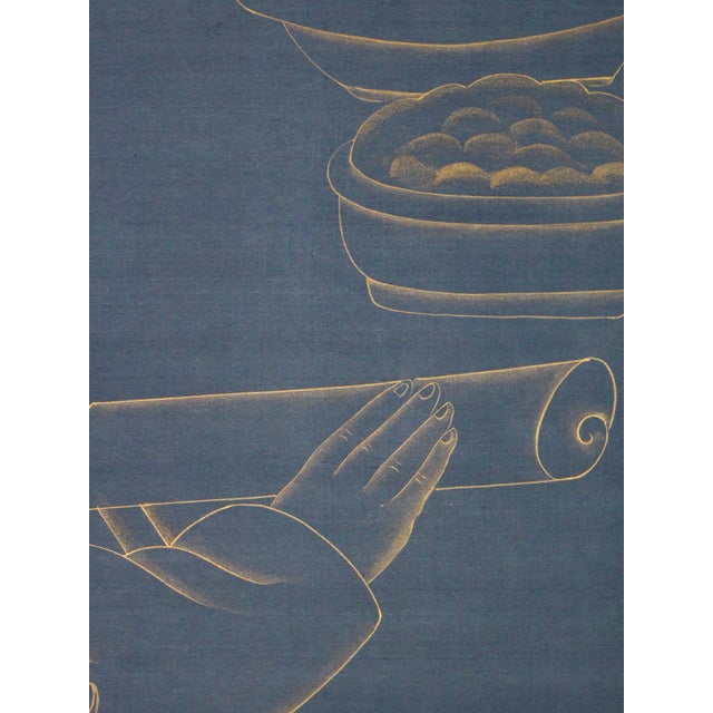 Not Yet Made - Made To Order Metallic Gold Paint on Blue Silk Chinoiserie Diptych Paintings - 2 Pieces For Sale - Image 5 of 8